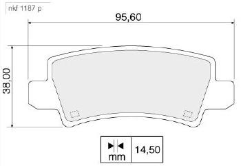 Pastilha de Freio - Nakata - NKF 1187P - Par - - TOYOTA COROLLA 1.6 16V 02 - 08 / TOYOTA COROLLA 1.8 16V 02 - 08 / TOYOTA FIELDER 1.8 16V 04 - 08 - Posição