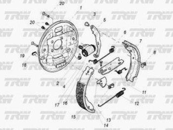 Espelho do Tambor de Freio - TRW - RCFT02060 - Par