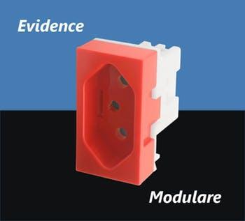 Módulo Tomada 2P+T 20A/250V Vermelha para Uso Específico Evidence / Modulare - FAME - 2374 - Unitário