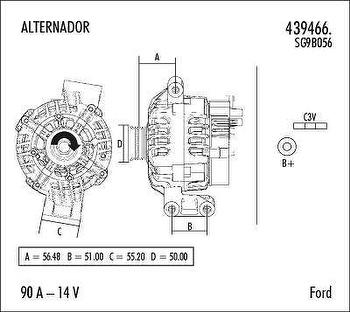 Alternador - Valeo - 439466. - Unitário