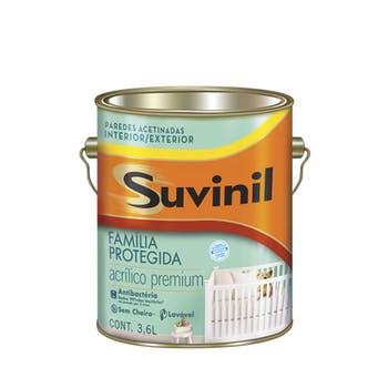 Tinta Acrílica Família Protegida Antibactéria Acetinada Branca 3,6L - Suvinil - 50196043 - Unitário