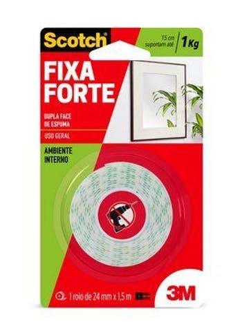 Fita Dupla Face 3M Scotch Fixa Forte 24mm x 1,5m - 3M - HB004087670 - Unitário