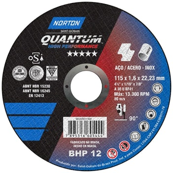 Disco de corte Quantum 115x1,6x22,23mm - Norton - 66252931358 - Unitário