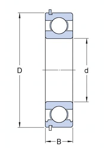 Rolamento rígido de esferas. ranhura para anel de retenção no anel externo com o anel de retenção - SKF - 6308-ZNR - Unitário
