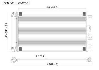 Condensador - Valeo - 700870C - Unitário