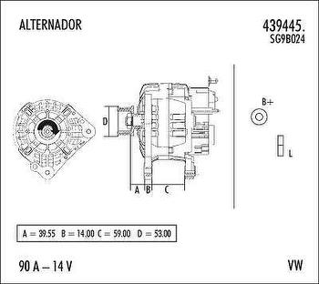 Alternador - Valeo - 439445. - Unitário