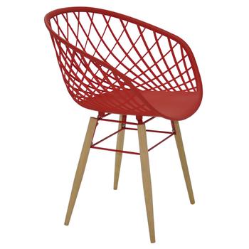 Cadeira Tramontina Sidera Vermelha em Poliamida com Pernas de Madeira - Tramontina - 92089040 - Unitário