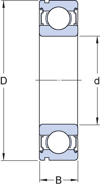 Rolamento rígido de esferas - SKF - 6206 - Unitário