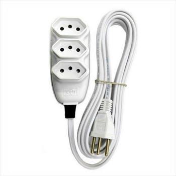 Extensão Elétrica Compacta 2P+T com Cabo PP Chato 10A 250V 5m Branco - ILUMI - 171001 - Unitário