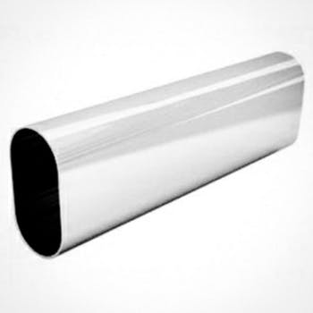 Tubo Cabideiro Oblongo Cromado com 3m Base