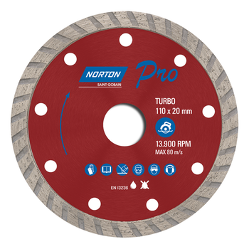 Disco diamantado para corte - turbo PRO 110x20mm - Norton - 70184624362 - Unitário