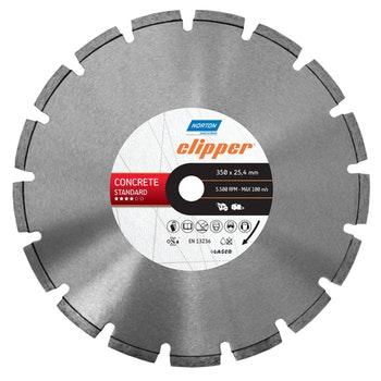 Disco diamantado para corte - concreto Standard Clipper 350x25,4mm - Norton - 70184601441 - Unitário