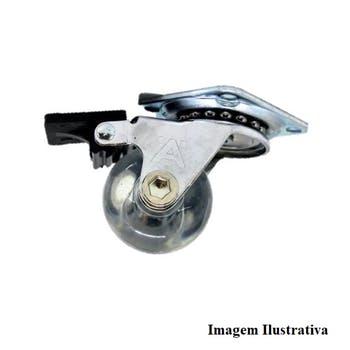 Rodizio Gel Incolor com Freio 50mm 30Kg