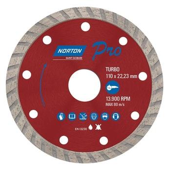 Disco diamantado para corte - turbo PRO 110x22,23mm - Norton - 70184624365 - Unitário
