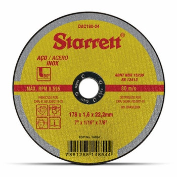 Disco de Corte - Starrett - DAC180-24 - Unitário