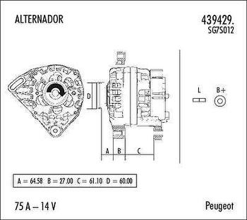 Alternador - Valeo - 439429. - Unitário