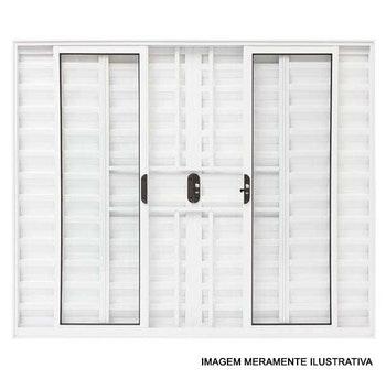 Janela Veneziana de 6 Folhas com Grade Linha Malta 100 x 200cm Anodizado Brilhante - Prado Alumínio - 10.04.01.0393 - Unitário