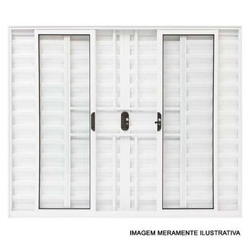 Janela Veneziana de 6 Folhas com Grade Linha Malta 100 x 150cm Branco - Prado Alumínio - 10.04.01.2392 - Unitário