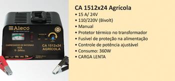 Carregador de Baterias CA1512x24 Agrícola - Aleco - ADA000007 - Unitário