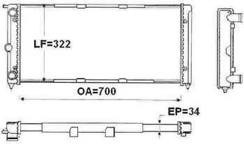 Radiador de Resfriamento - Valeo - TA682002R - Unitário