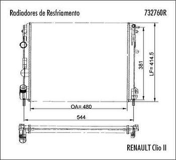 Radiador de Resfriamento - Valeo - 732760R - Unitário