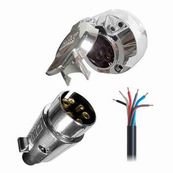 Kit Tomada Elétrica para Engate 6 Polos + Cabo PP - DNI 8369 - DNI - DNI 8369 - Unitário