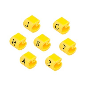 Marcador Anilha para Cabo T 0,5-6mm² Amarelo com 100 peças - HellermannTyton - MHG2/5 T - Unitário
