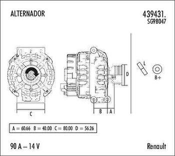 Alternador - Valeo - 439431. - Unitário