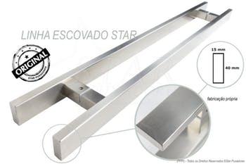 Puxador de Aço Escovado 40cm - Star Puxadores - P40E - Unitário