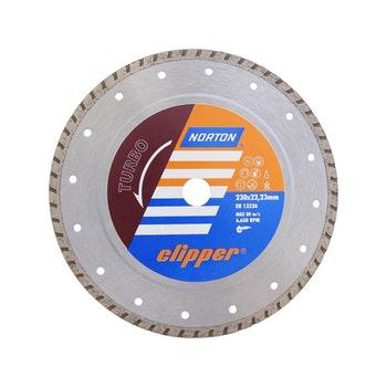 Disco diamantado para corte - turbo Clipper 230x8x22,23mm - Norton - 70184624373 - Unitário