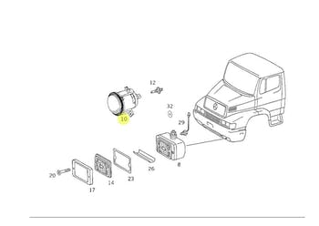 Conjunto do Farol de Neblina - Original Mercedes-Benz - A9588200056 - Unitário