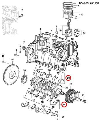 Par De Bronzina Mancal 0,25 Casquilhos 1.0 1.4 1.8 - Original Chevrolet - 98500030 - Unitário