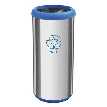 Lixeira Inox Cápsula Selecta Plus 40L com Acabamento Polido e Aro e Base Azul em Polipropileno - Tramontina - 94539221 - Unitário