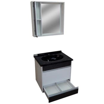 Kit para Banheiro Moscou 60cm com Toucador, Espelheira e Lavatório - Irmãos Corso - 110010669 - Unitário