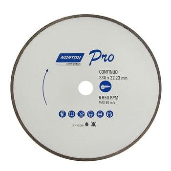 Disco diamantado para corte - contínuo PRO 230x22,23mm - Norton - 70184645812 - Unitário
