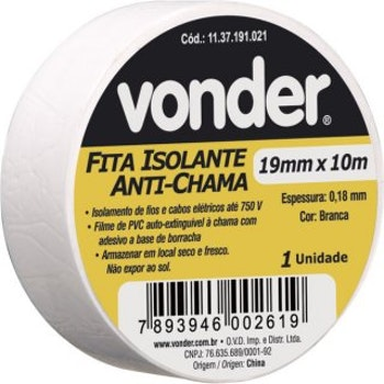 Fita Isolante, 19 mm X 10 m, Branca - Vonder - 11.37.191.021 - Unitário