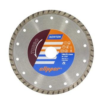 Disco diamantado para corte - turbo Clipper 180X8X25,4mm - Norton - 70184627457 - Unitário
