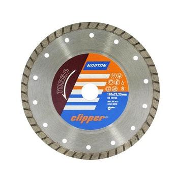 Disco diamantado para corte - turbo Clipper 180x8x22,23mm - Norton - 70184624372 - Unitário