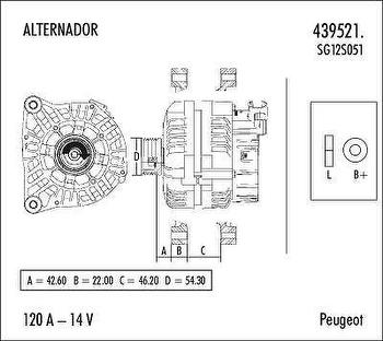 Alternador - Valeo - 439521. - Unitário