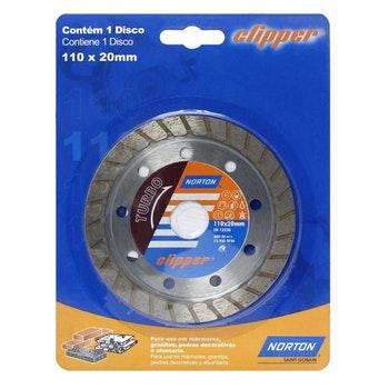 Disco diamantado para corte - turbo Clipper 110x10x20mm - Norton - 70184624368 - Unitário
