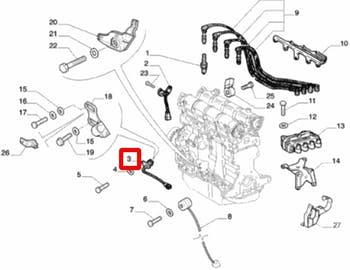 Sensor de Rotação - Original Fiat - 55189515 - Unitário