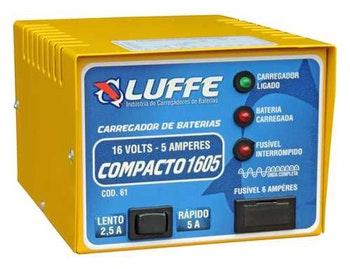 Carregador de Bateria com 5A-16V Bivolt - Luffe - COD 61 - COMPACTO 1605 - Unitário