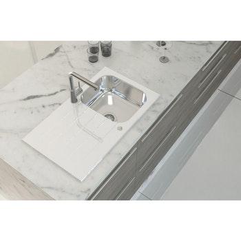 Cuba de Sobrepor em Aço Inox e Vidro Temperado Branco Tramontina Vitra 86 x 50cm - Tramontina - 93951273 - Unitário