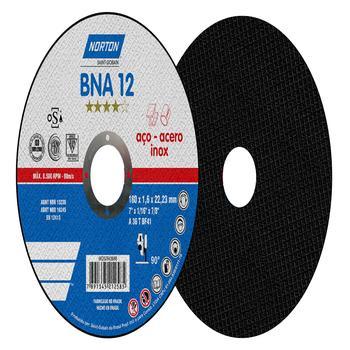 Disco de corte BNA 12 - 180x1,6x22,23mm - Norton - 66252843688 - Unitário