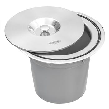 Lixeira de Embutir em Aço Inox com Balde Plástico Tramontina Clean Round 8L - Tramontina - 94518000 - Unitário