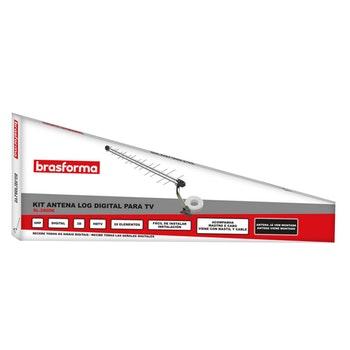 Kit Antena Digital Externa Log 28 Elementos UHF, HDTV + Cabo Coaxial + Mastro de Fixação SL-2800K - Brasforma - 1508075 - Unitário