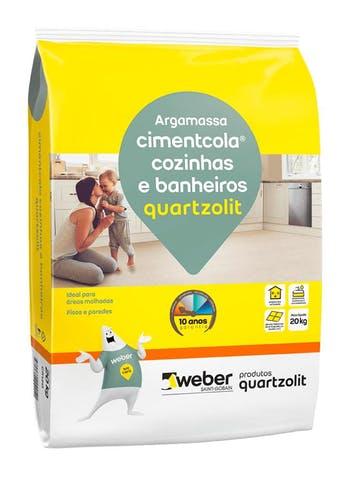 Argamassa Cimentcola para Banheiros e Cozinhas 20Kg Embalagem Papel - Quartzolit - 0118.00001.0020PA - Unitário