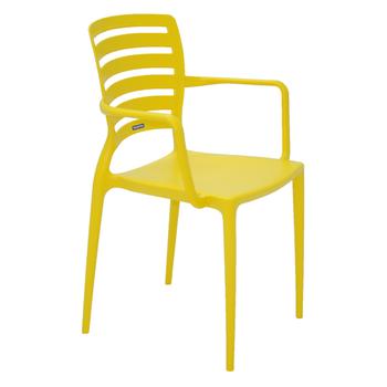 Cadeira Tramontina Sofia Amarela com Braços Encosto Vazado Horizontal - Tramontina - 92036000 - Unitário