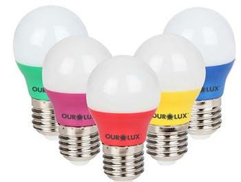 Lâmpada Bolinha Colors 3W Bivolt Rosa - Ourolux - 05430 - Unitário
