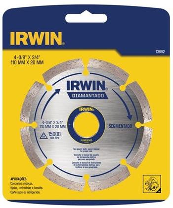 Disco Diamantado F20 Segmentado p/ Concreto 110mm - Irwin - 013892 - Unitário